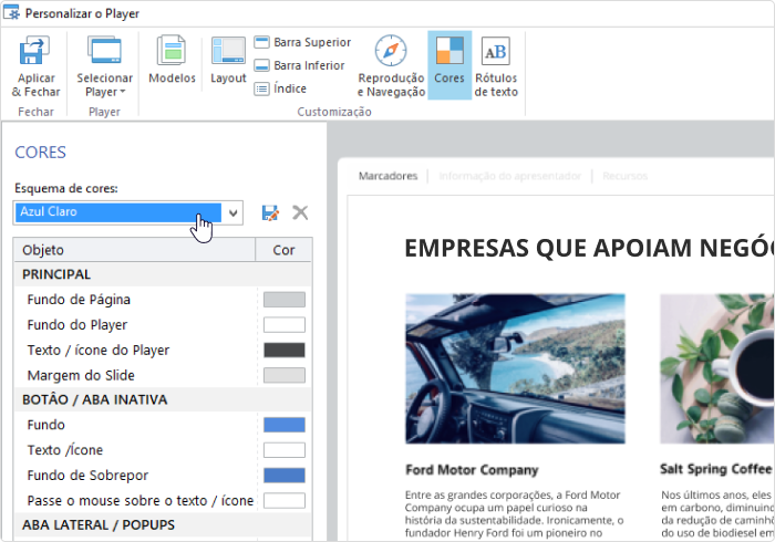 Personalizando as cores no player de vídeo do iSpring Suite